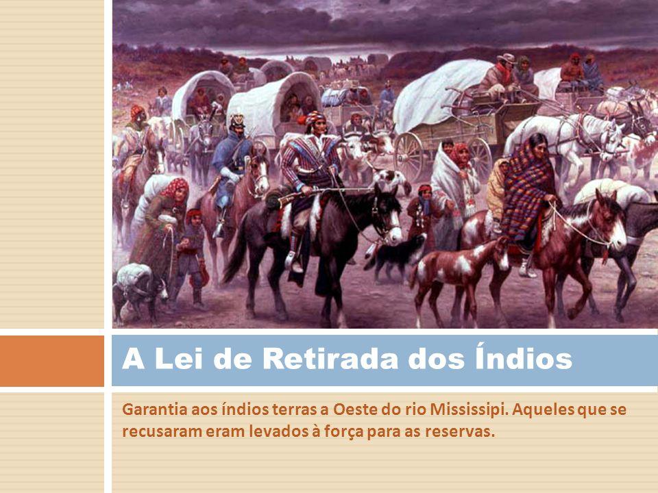 Garantia aos índios terras a Oeste do rio Mississipi. Aqueles que se recusaram eram levados à força para as reservas. A Lei de Retirada dos Índios