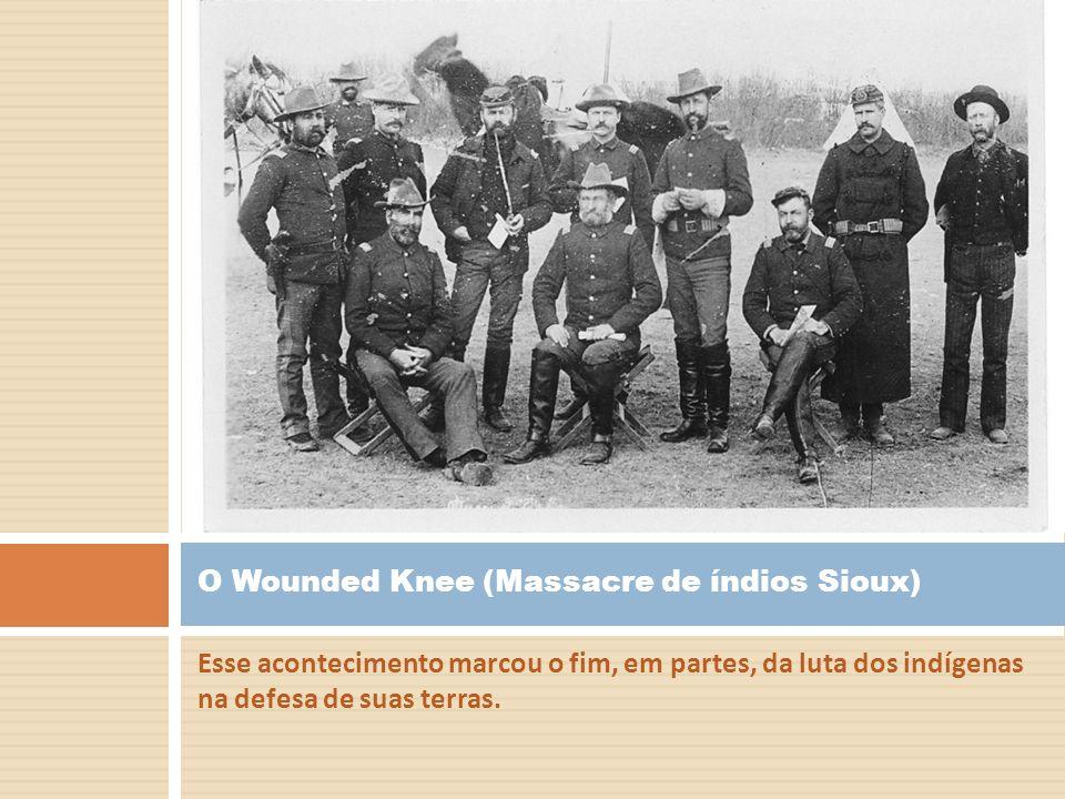 Esse acontecimento marcou o fim, em partes, da luta dos indígenas na defesa de suas terras. O Wounded Knee (Massacre de índios Sioux)