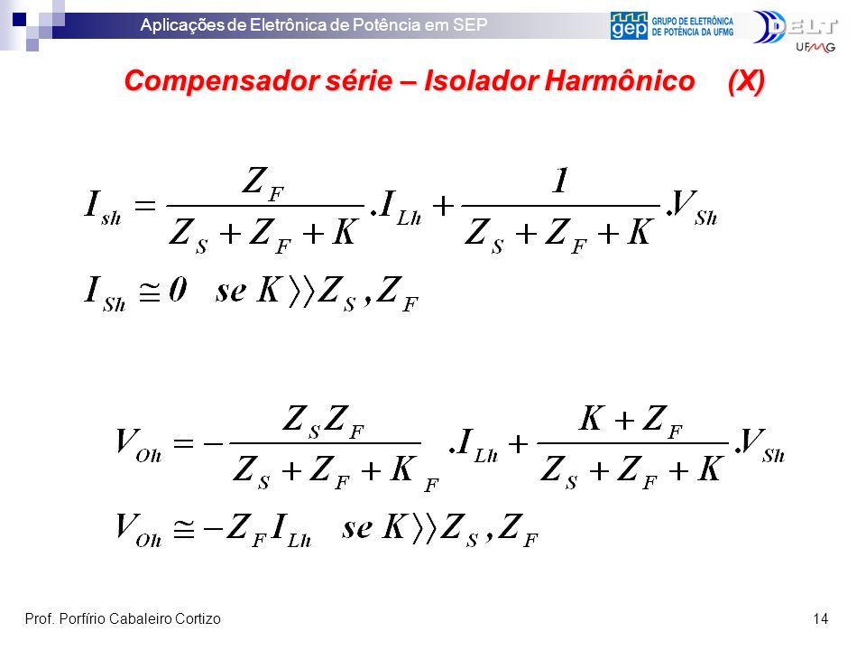 Aplicações de Eletrônica de Potência em SEP Prof. Porfírio Cabaleiro Cortizo 14 Compensador série – Isolador Harmônico (X)