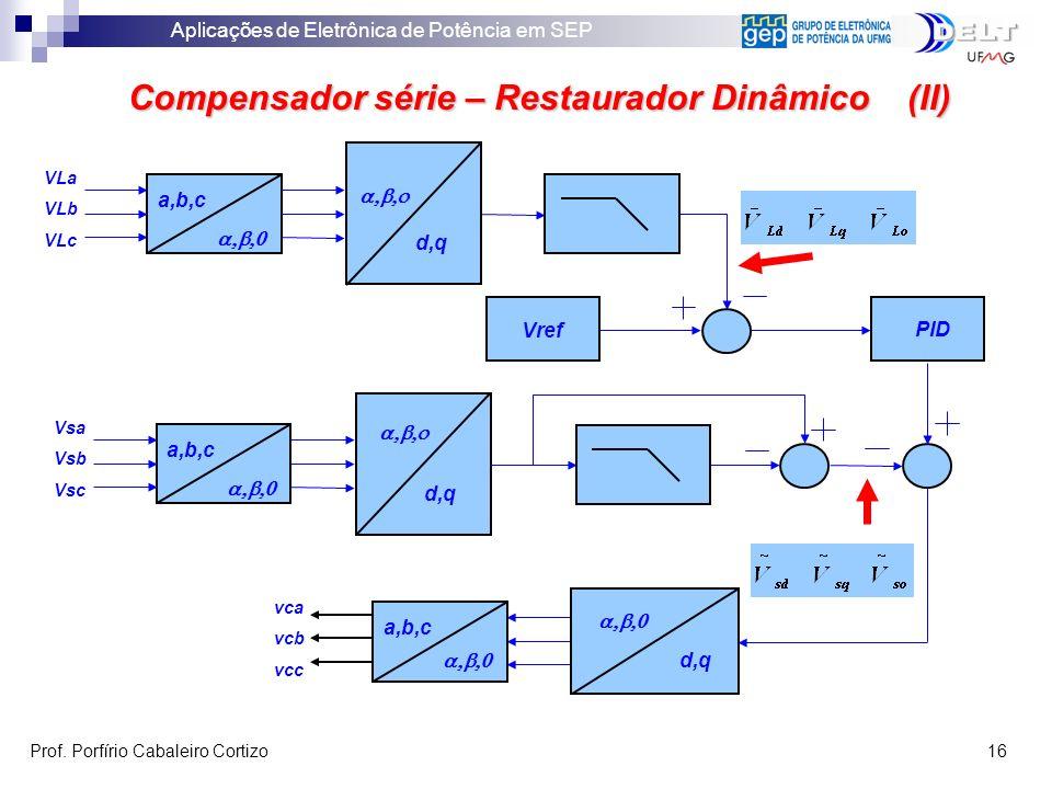 Aplicações de Eletrônica de Potência em SEP Prof. Porfírio Cabaleiro Cortizo 16 Compensador série – Restaurador Dinâmico (II) VLa VLb VLc a,b,c d,q a,