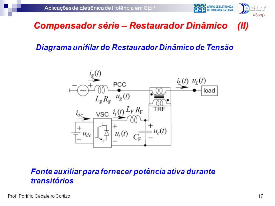 Aplicações de Eletrônica de Potência em SEP Prof. Porfírio Cabaleiro Cortizo 17 Compensador série – Restaurador Dinâmico (II) Fonte auxiliar para forn
