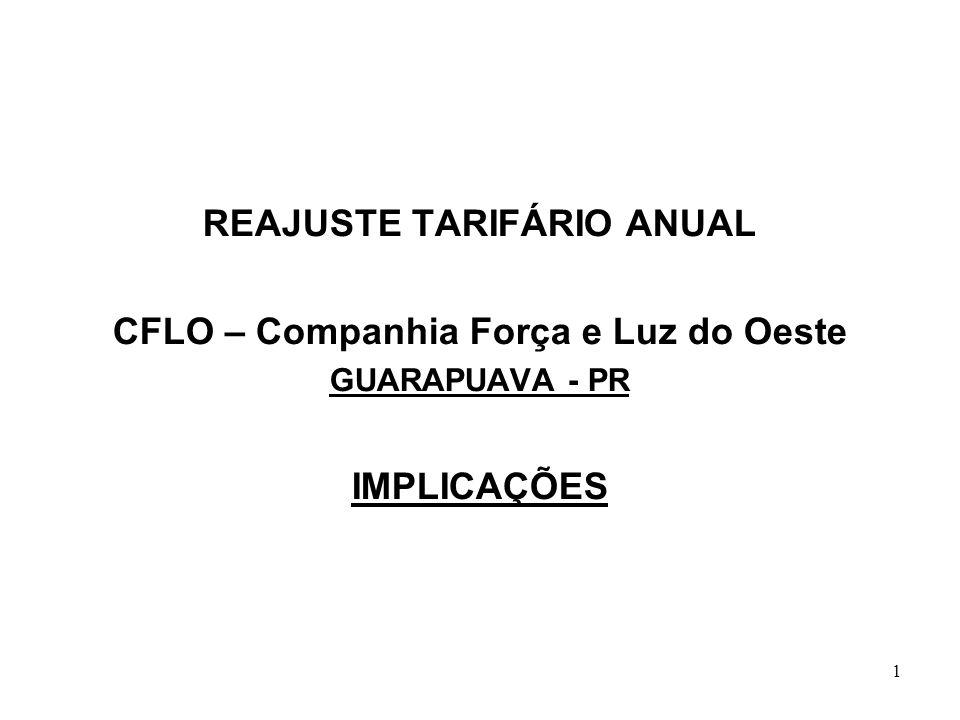 1 REAJUSTE TARIFÁRIO ANUAL CFLO – Companhia Força e Luz do Oeste GUARAPUAVA - PR IMPLICAÇÕES