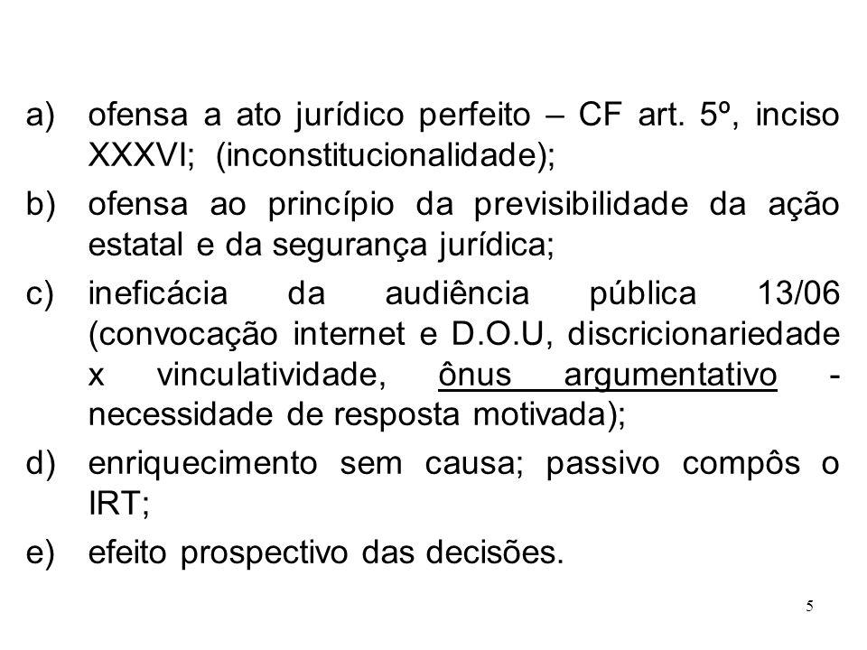 5 a)ofensa a ato jurídico perfeito – CF art. 5º, inciso XXXVI; (inconstitucionalidade); b)ofensa ao princípio da previsibilidade da ação estatal e da