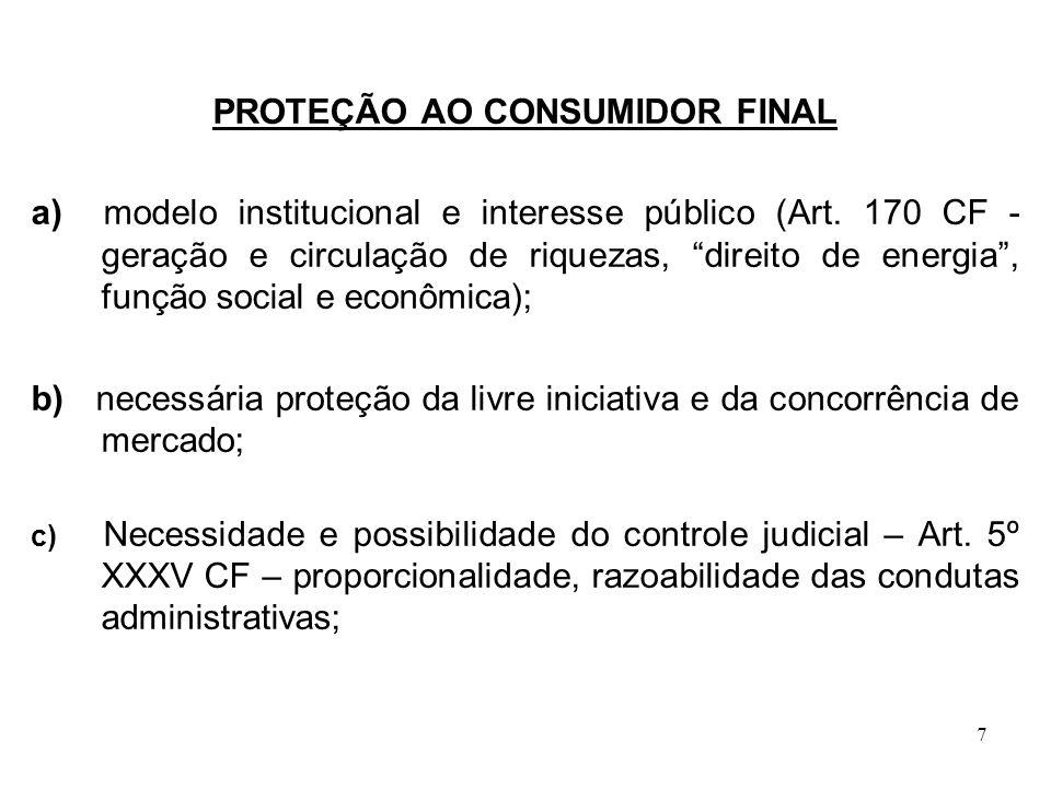 7 PROTEÇÃO AO CONSUMIDOR FINAL a) modelo institucional e interesse público (Art. 170 CF - geração e circulação de riquezas, direito de energia, função