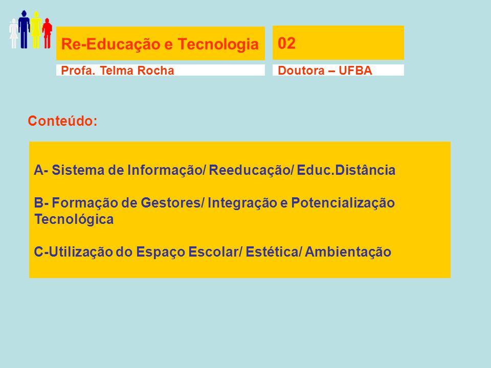 Re-Educação e Tecnologia 02 Profa. Telma RochaDoutora – UFBA A- Sistema de Informação/ Reeducação/ Educ.Distância B- Formação de Gestores/ Integração