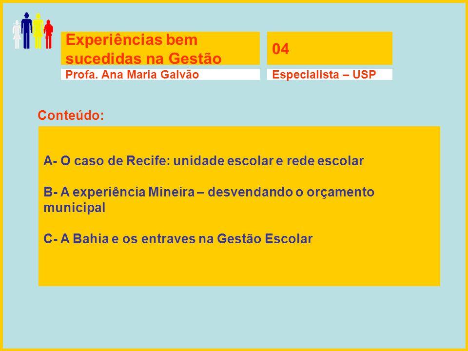 Experiências bem sucedidas na Gestão 04 Profa. Ana Maria GalvãoEspecialista – USP A- O caso de Recife: unidade escolar e rede escolar B- A experiência