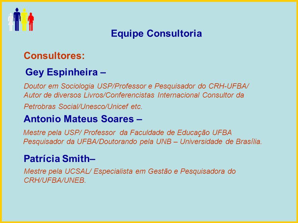 Equipe Consultoria Consultores: Patrícia Smith– Antonio Mateus Soares – Gey Espinheira – Doutor em Sociologia USP/Professor e Pesquisador do CRH-UFBA/