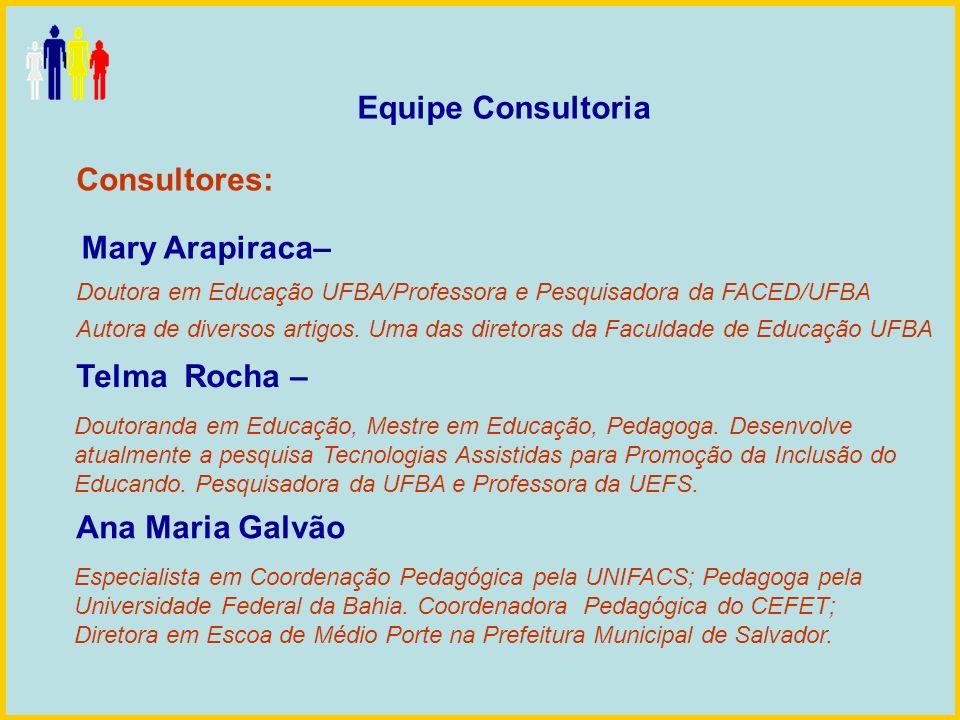Equipe Consultoria Consultores: Ana Maria Galvão Telma Rocha – Mary Arapiraca– Doutora em Educação UFBA/Professora e Pesquisadora da FACED/UFBA Autora