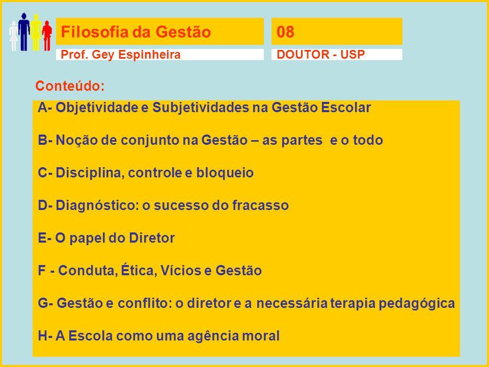Filosofia da Gestão08 Prof. Gey EspinheiraDOUTOR - USP A- Objetividade e Subjetividades na Gestão Escolar B- Noção de conjunto na Gestão – as partes e