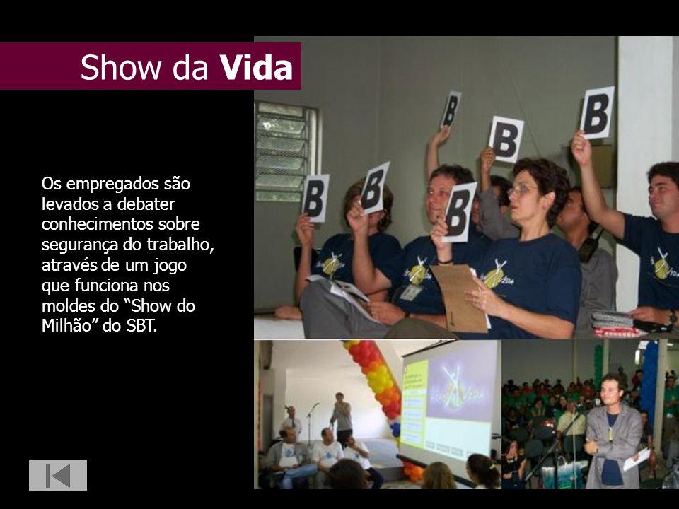 Show da Vida Os empregados são levados a debater conhecimentos sobre segurança do trabalho, através de um jogo que funciona nos moldes do Show do Milh