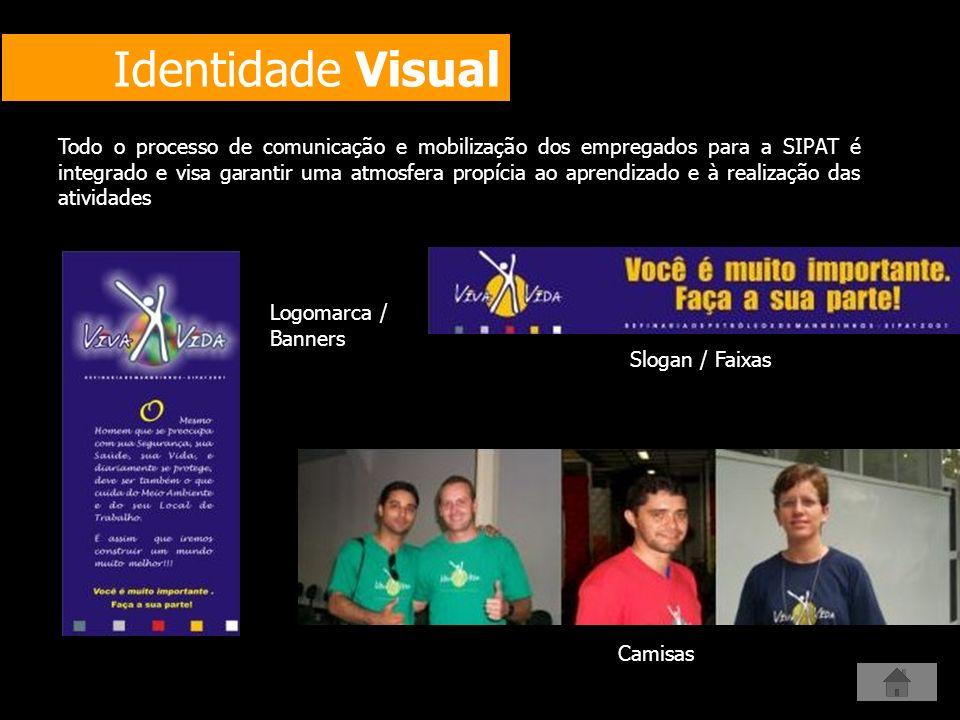 Identidade Visual Slogan / Faixas Logomarca / Banners Camisas Todo o processo de comunicação e mobilização dos empregados para a SIPAT é integrado e v