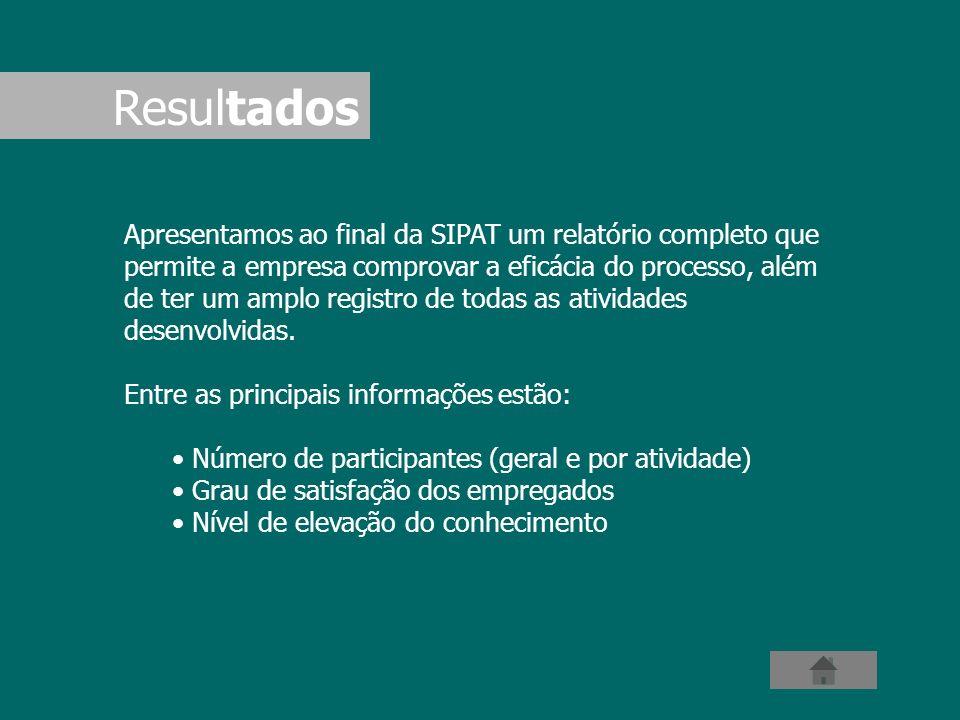 Apresentamos ao final da SIPAT um relatório completo que permite a empresa comprovar a eficácia do processo, além de ter um amplo registro de todas as