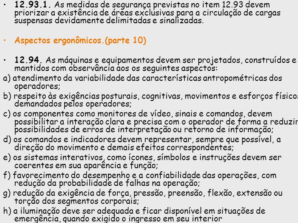 12.93.1. As medidas de segurança previstas no item 12.93 devem priorizar a existência de áreas exclusivas para a circulação de cargas suspensas devida