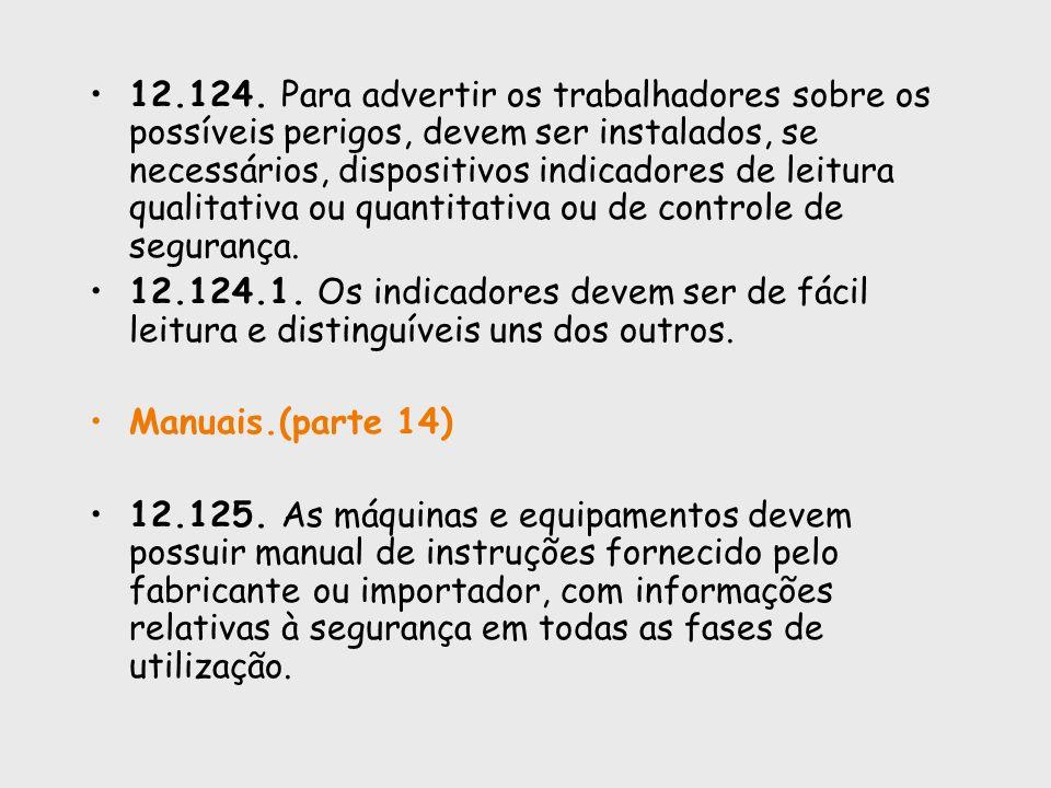 12.124. Para advertir os trabalhadores sobre os possíveis perigos, devem ser instalados, se necessários, dispositivos indicadores de leitura qualitati