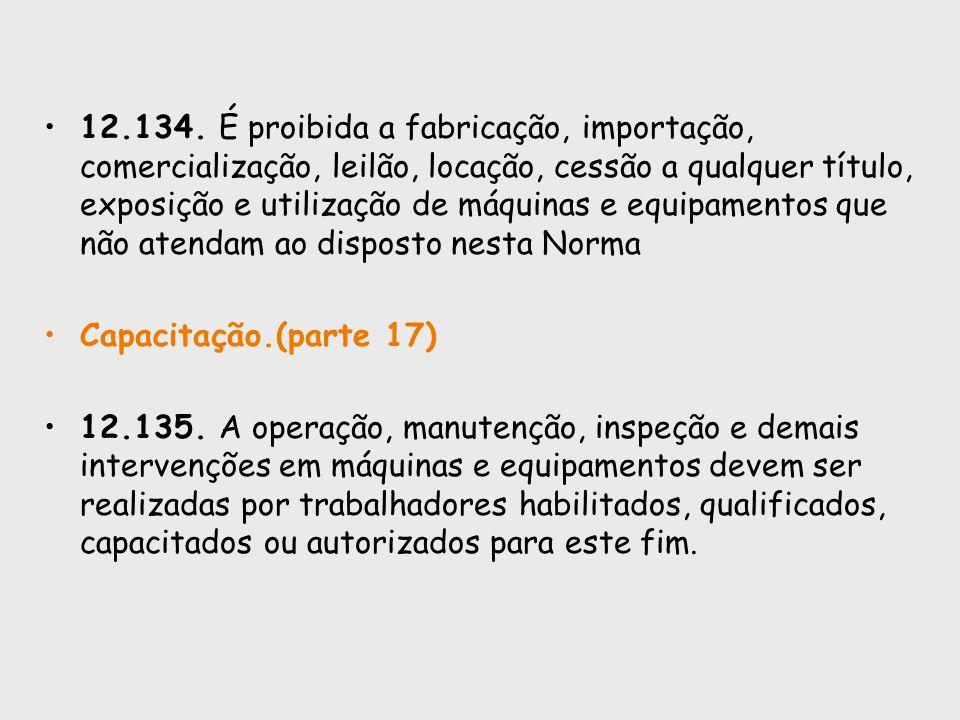 12.134. É proibida a fabricação, importação, comercialização, leilão, locação, cessão a qualquer título, exposição e utilização de máquinas e equipame