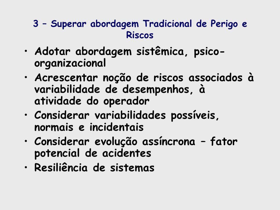 3 – Superar abordagem Tradicional de Perigo e Riscos Adotar abordagem sistêmica, psico- organizacional Acrescentar noção de riscos associados à variab