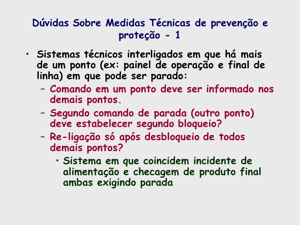 Dúvidas Sobre Medidas Técnicas de prevenção e proteção - 1 Sistemas técnicos interligados em que há mais de um ponto (ex: painel de operação e final d