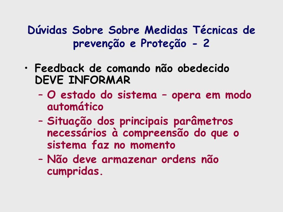 Dúvidas Sobre Sobre Medidas Técnicas de prevenção e Proteção - 2 Feedback de comando não obedecido DEVE INFORMAR –O estado do sistema – opera em modo