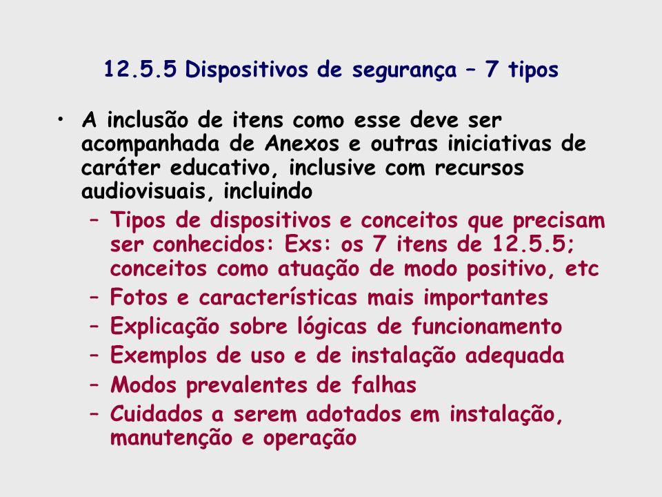 12.5.5 Dispositivos de segurança – 7 tipos A inclusão de itens como esse deve ser acompanhada de Anexos e outras iniciativas de caráter educativo, inc