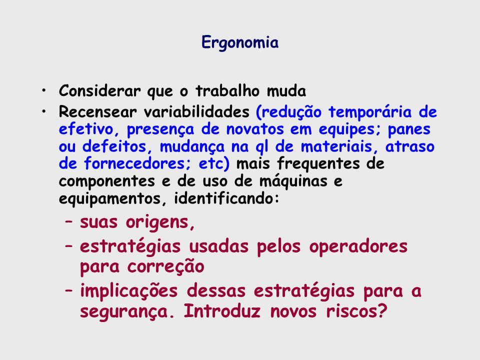 Ergonomia Considerar que o trabalho muda Recensear variabilidades (redução temporária de efetivo, presença de novatos em equipes; panes ou defeitos, m