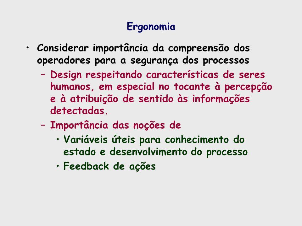 Ergonomia Considerar importância da compreensão dos operadores para a segurança dos processos –Design respeitando características de seres humanos, em