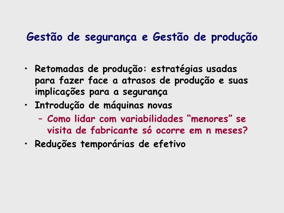 Gestão de segurança e Gestão de produção Retomadas de produção: estratégias usadas para fazer face a atrasos de produção e suas implicações para a seg