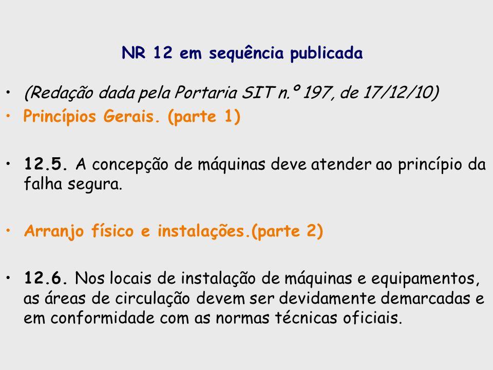 NR 12 em sequência publicada (Redação dada pela Portaria SIT n.º 197, de 17/12/10) Princípios Gerais. (parte 1) 12.5. A concepção de máquinas deve ate