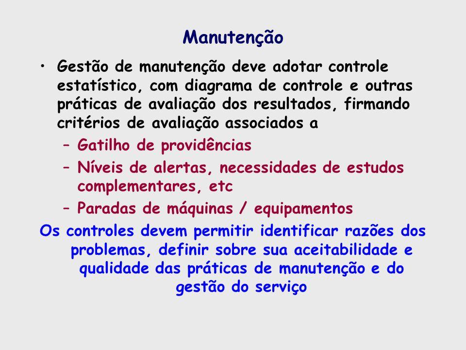 Manutenção Gestão de manutenção deve adotar controle estatístico, com diagrama de controle e outras práticas de avaliação dos resultados, firmando cri
