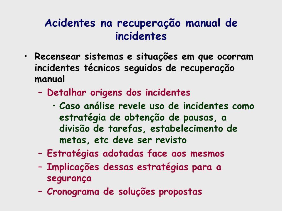 Acidentes na recuperação manual de incidentes Recensear sistemas e situações em que ocorram incidentes técnicos seguidos de recuperação manual –Detalh