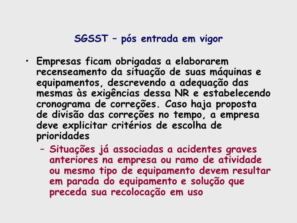 SGSST – pós entrada em vigor Empresas ficam obrigadas a elaborarem recenseamento da situação de suas máquinas e equipamentos, descrevendo a adequação