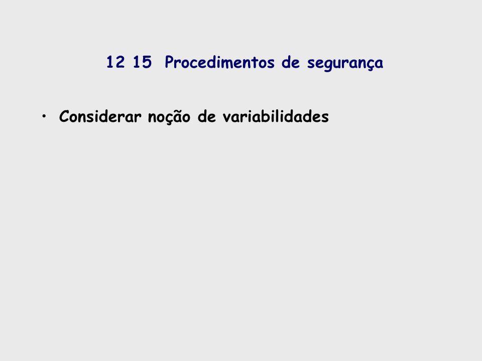 12 15 Procedimentos de segurança Considerar noção de variabilidades