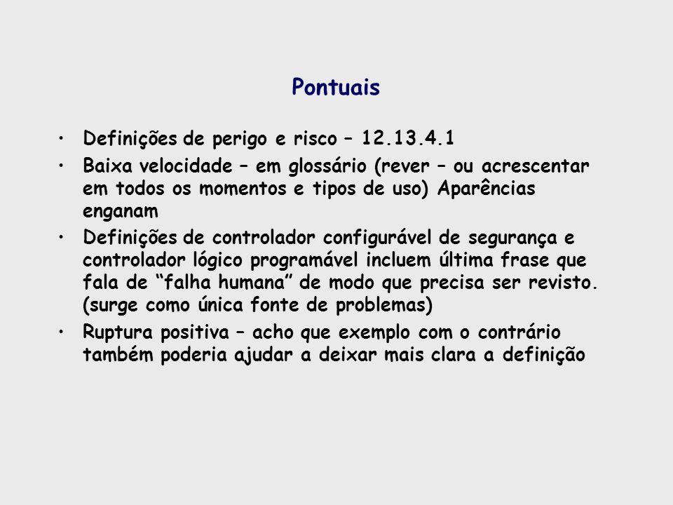 Pontuais Definições de perigo e risco – 12.13.4.1 Baixa velocidade – em glossário (rever – ou acrescentar em todos os momentos e tipos de uso) Aparênc