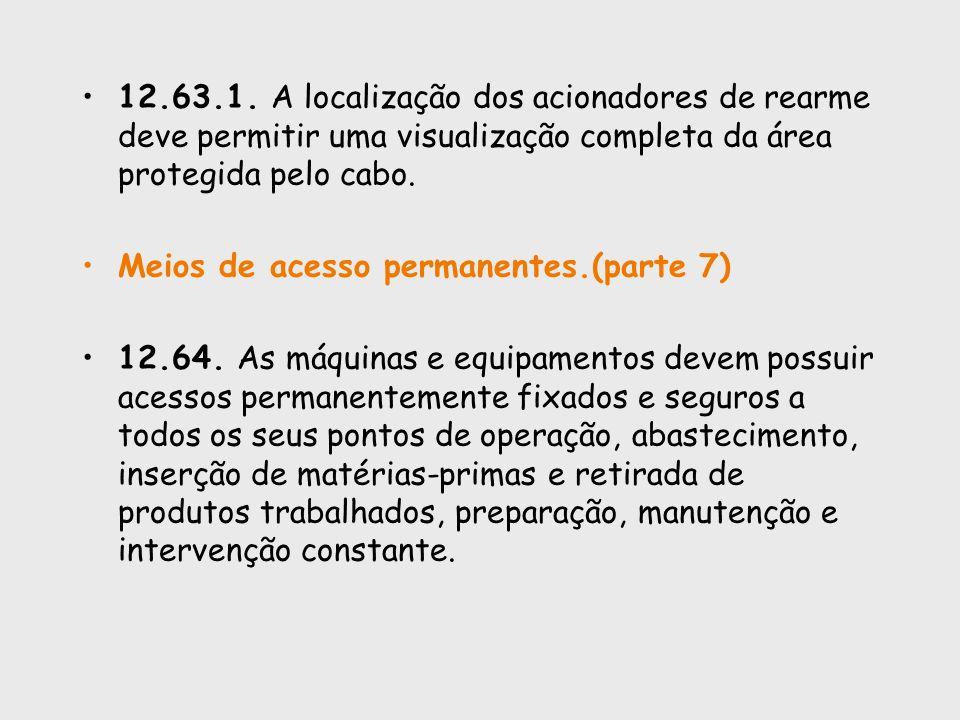 12.63.1. A localização dos acionadores de rearme deve permitir uma visualização completa da área protegida pelo cabo. Meios de acesso permanentes.(par