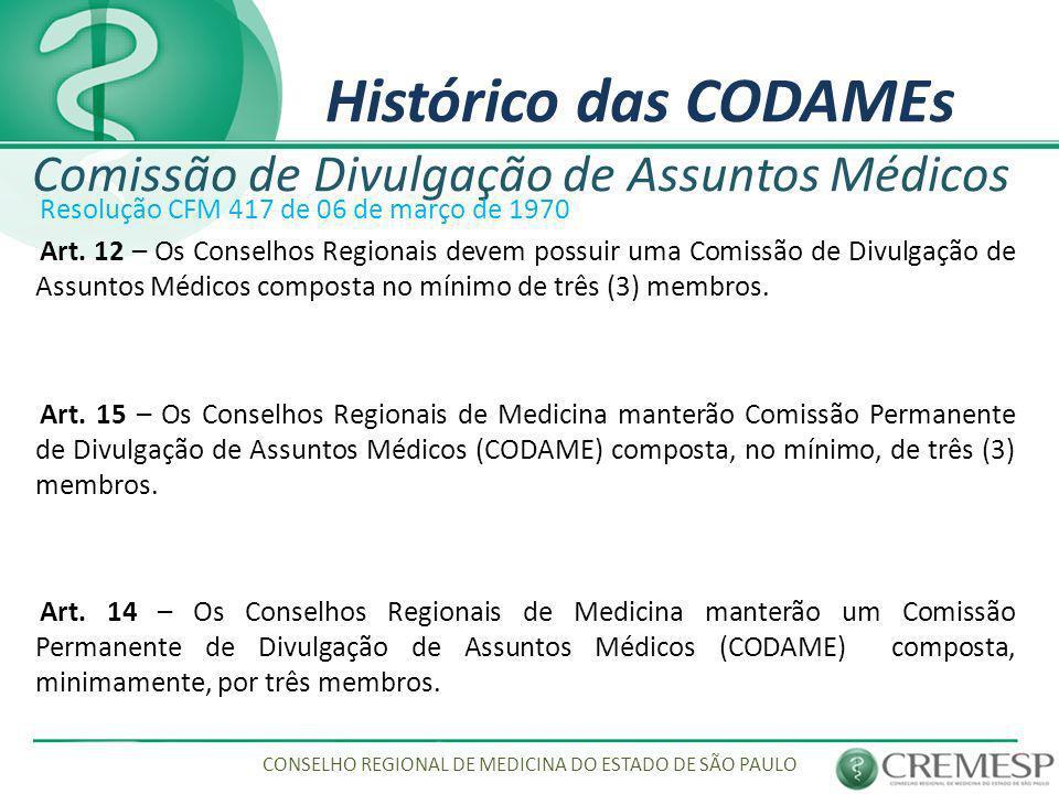 Histórico das CODAMEs Comissão de Divulgação de Assuntos Médicos Resolução CFM 417 de 06 de março de 1970 Art. 12 – Os Conselhos Regionais devem possu