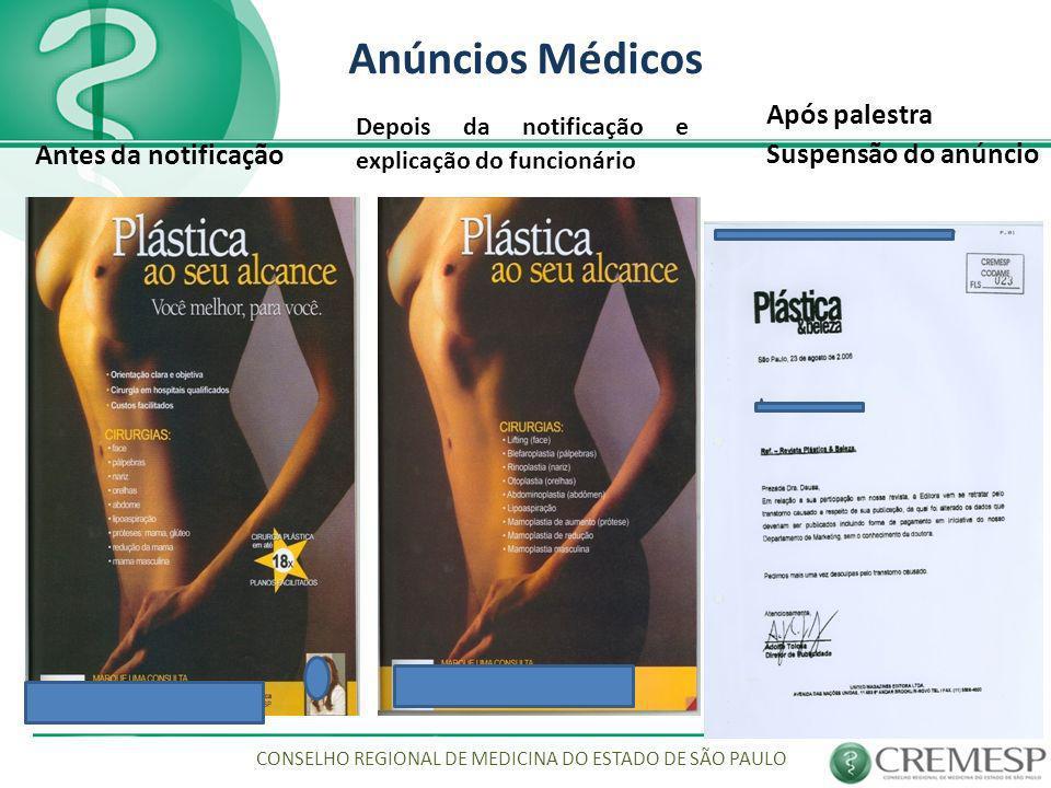 Anúncios Médicos CONSELHO REGIONAL DE MEDICINA DO ESTADO DE SÃO PAULO Antes da notificação Depois da notificação e explicação do funcionário Após pale