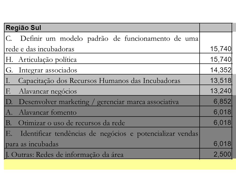 Região Sul C. Definirummodelopadrãodefuncionamentodeuma rede e das incubadoras 15,740 H. Articulação política 15,740 G. Integrar associados 14,352 I.