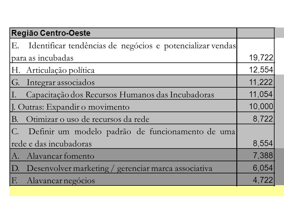 Região Centro-Oeste E. Identificartendênciasdenegóciosepotencializarvendas para as incubadas 19,722 H. Articulação política 12,554 G. Integrar associa