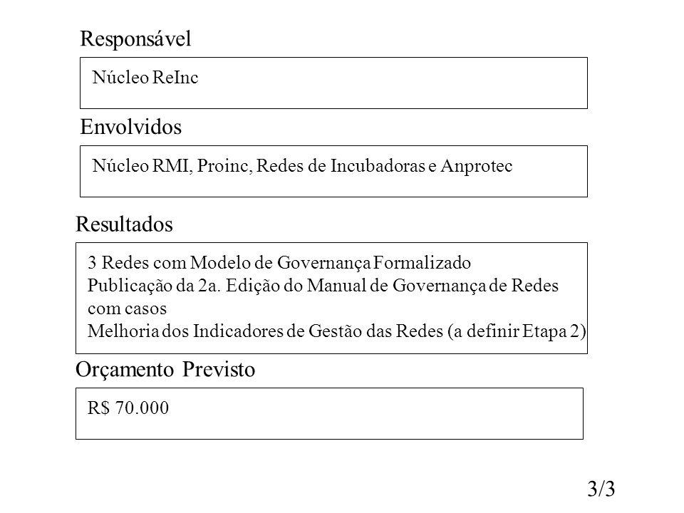 Responsável Núcleo ReInc Envolvidos Núcleo RMI, Proinc, Redes de Incubadoras e Anprotec Resultados 3 Redes com Modelo de Governança Formalizado Public