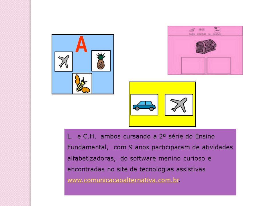 L. e C.H, ambos cursando a 2ª série do Ensino Fundamental, com 9 anos participaram de atividades alfabetizadoras, do software menino curioso e encontr