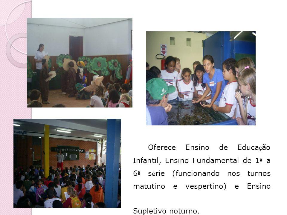 Oferece Ensino de Educa ç ão Infantil, Ensino Fundamental de 1 ª a 6 ª s é rie (funcionando nos turnos matutino e vespertino) e Ensino Supletivo notur