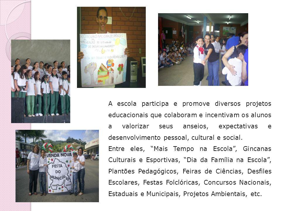 A escola participa e promove diversos projetos educacionais que colaboram e incentivam os alunos a valorizar seus anseios, expectativas e desenvolvime