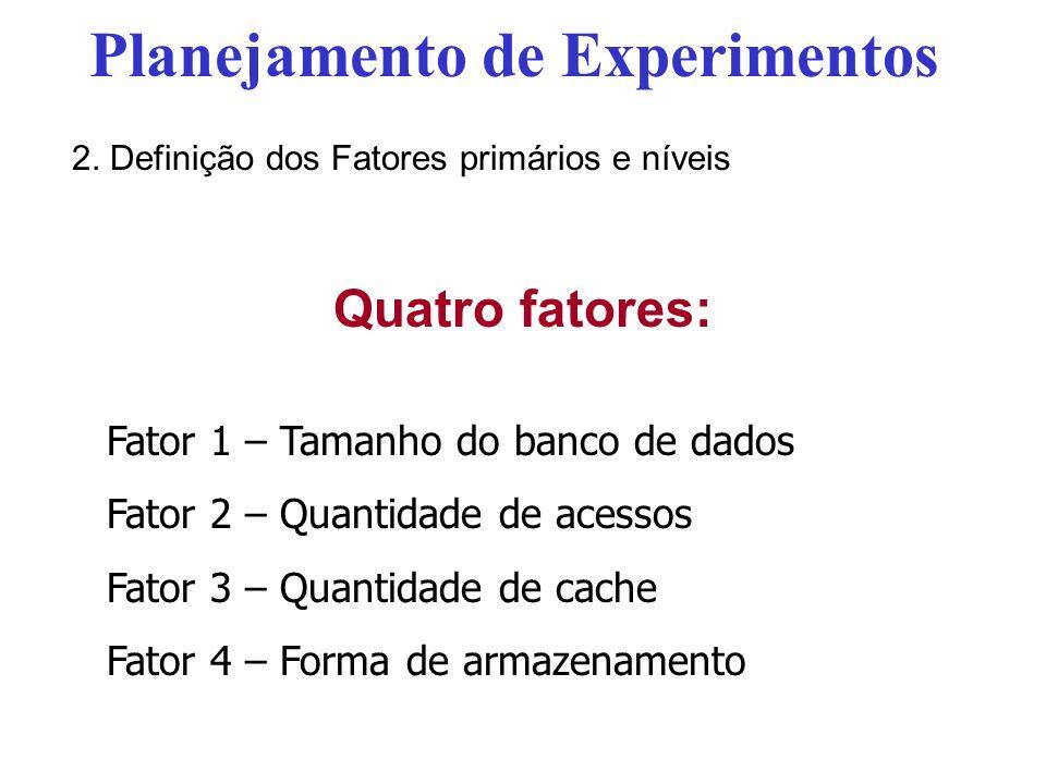 Quatro fatores: Fator 1 – Tamanho do banco de dados Fator 2 – Quantidade de acessos Fator 3 – Quantidade de cache Fator 4 – Forma de armazenamento Pla