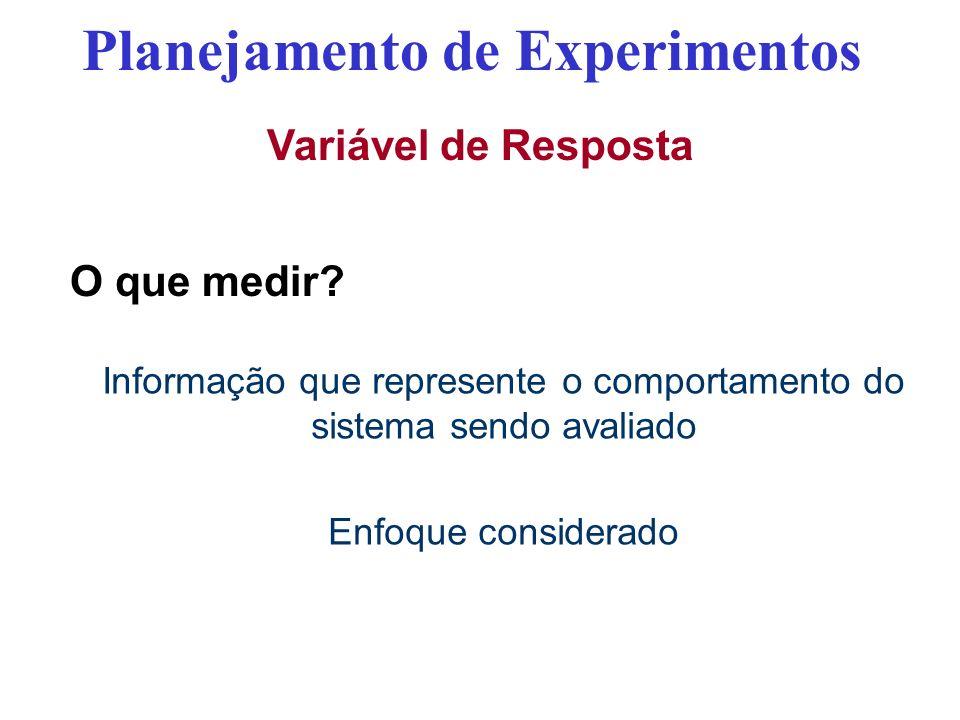 Variável de Resposta O que medir? Planejamento de Experimentos Informação que represente o comportamento do sistema sendo avaliado Enfoque considerado