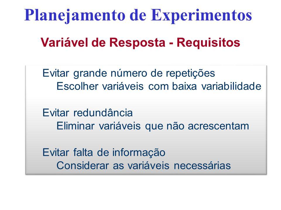 Variável de Resposta - Requisitos Planejamento de Experimentos Evitar grande número de repetições Escolher variáveis com baixa variabilidade Evitar re