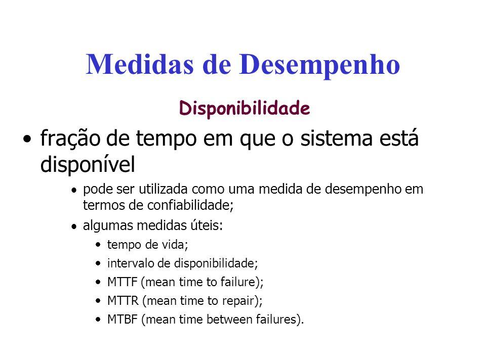 Medidas de Desempenho Disponibilidade fração de tempo em que o sistema está disponível pode ser utilizada como uma medida de desempenho em termos de c
