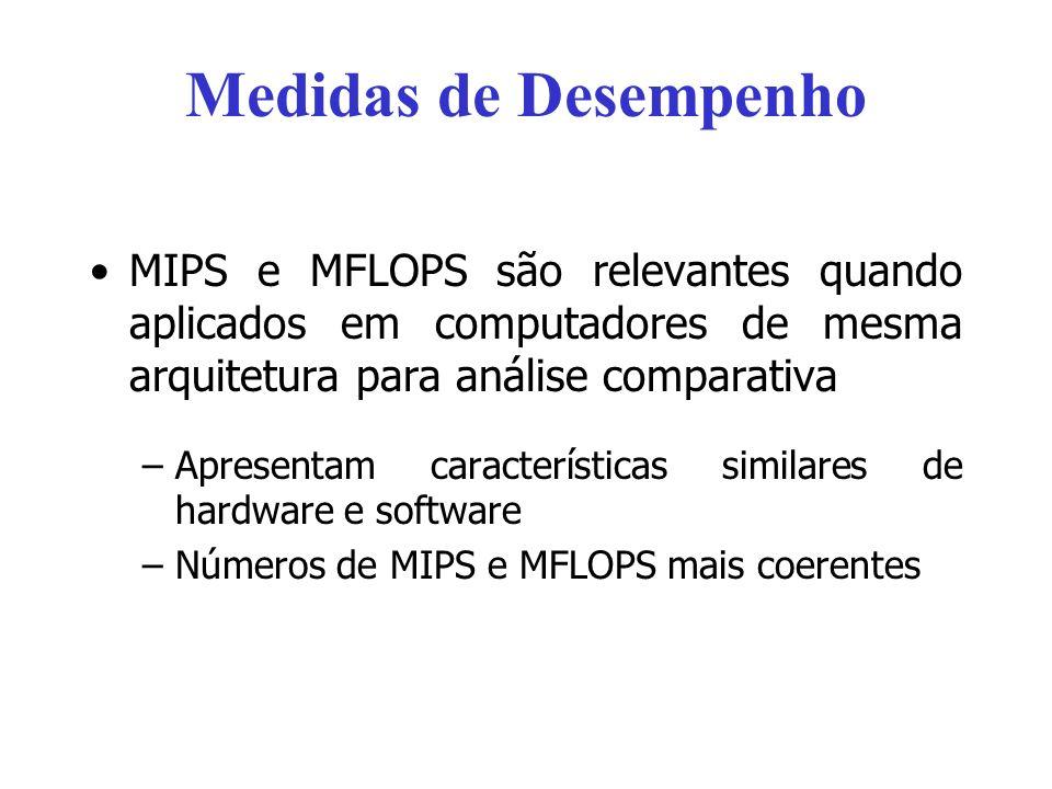 Medidas de Desempenho MIPS e MFLOPS são relevantes quando aplicados em computadores de mesma arquitetura para análise comparativa –Apresentam caracter