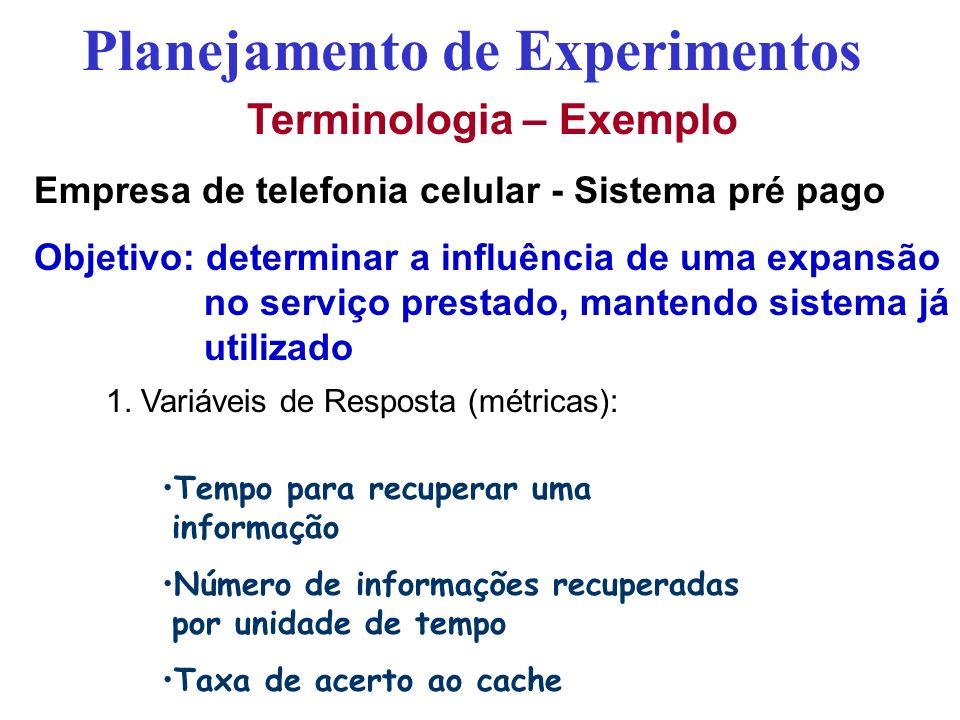 Terminologia – Exemplo Empresa de telefonia celular - Sistema pré pago Objetivo: determinar a influência de uma expansão no serviço prestado, mantendo