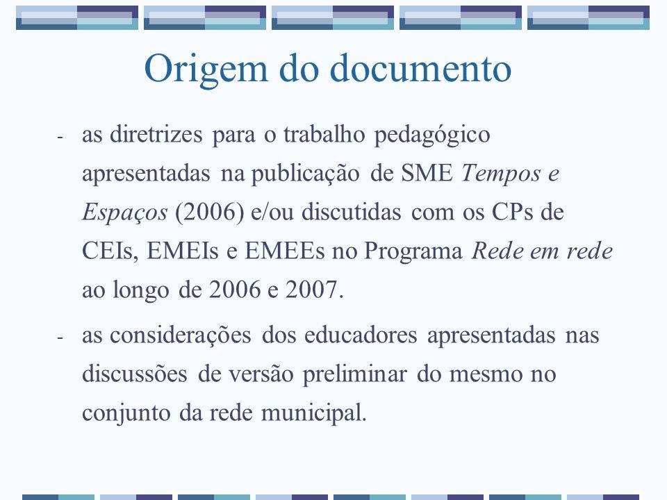Origem do documento - as diretrizes para o trabalho pedagógico apresentadas na publicação de SME Tempos e Espaços (2006) e/ou discutidas com os CPs de