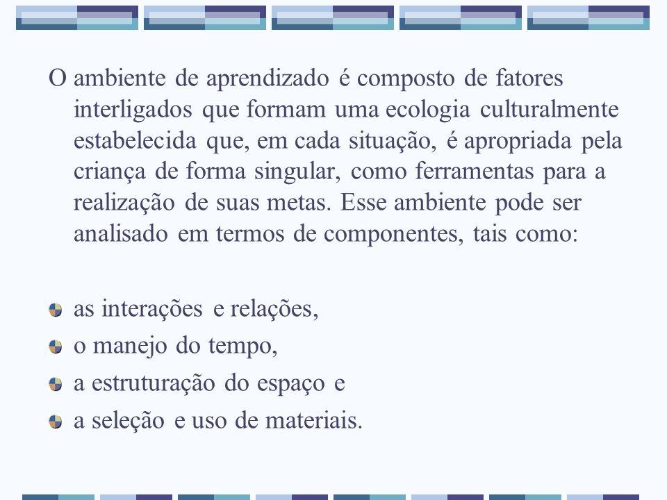 O ambiente de aprendizado é composto de fatores interligados que formam uma ecologia culturalmente estabelecida que, em cada situação, é apropriada pe