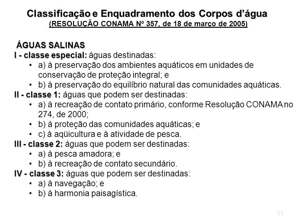 11 ÁGUAS SALINAS ÁGUAS SALINAS I - classe especial: I - classe especial: águas destinadas: a) à preservação dos ambientes aquáticos em unidades de con